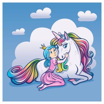Poster Little Princess Girl and Cute Unicorn, ilustração vetorial