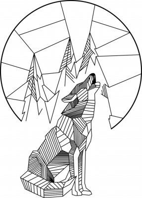 Poster Lobo Uivante Geométrico