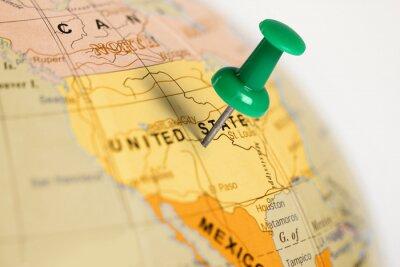Poster Localização Estados Unidos. Pin verde no mapa.