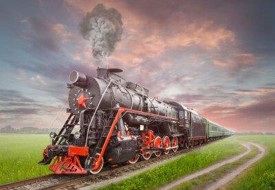 Poster Locomotiva a vapor soviético Retro