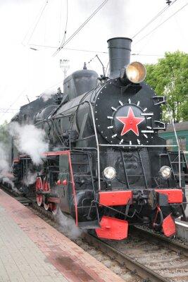 Poster Locomotiva a vapor, vista frontal