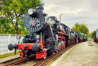 Poster Locomotiva de vapor do vintage