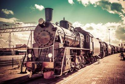 Poster Locomotiva de vapor velha, trem do vintage.