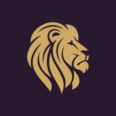 Poster Logotipo ou ícone principal do leão em uma cor. Ilustração do vetor do vetor.