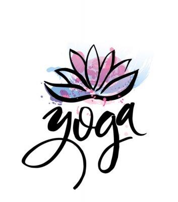 Poster Logotipo para o estúdio da ioga ou a classe da meditação. Elementos da aguarela do projeto do logotipo dos termas. Conceito da meditação. Silhueta lotos. Ilustração do vetor para a cópia do t-shirt