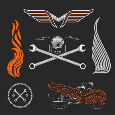 Poster Logotipos da motocicleta do vetor do vintage, emblemas, moldes, etiquetas, símbolos e elementos do projeto da motocicleta.