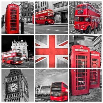 Poster Londres fotos colagem, cor seletiva