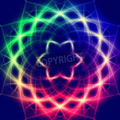Poster Luzes formando abstrato místico retro flor colorida