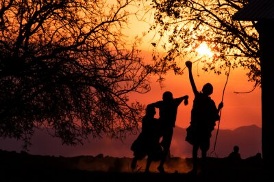 Poster Maasai Silhueta Crianças