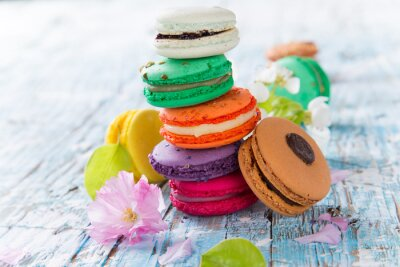Poster Macaroons franceses doces e coloridos.