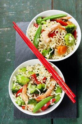 Poster Macarrões chineses com vegetais e camarões
