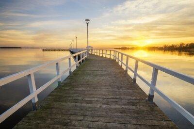 Poster Madeira, branca, cais, baía, pôr do sol