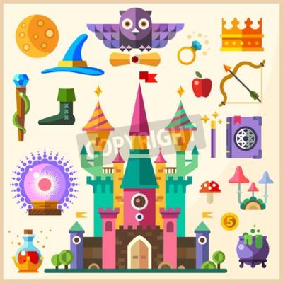 Poster Magia e conto de fadas. Castelo Mágico. Vector flat ícone e ilustrações: castelo coruja anel coroa pessoal chapéu livro de magias varinha mágica bola mágica bowler poção cogumelos arco seta maçã