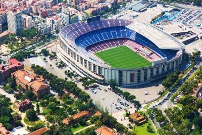 Poster Maior estádio do Barcelona de helicóptero. Catalunha