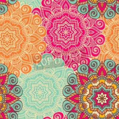 Poster Mandala Do Vetor. Ornamento redondo no estilo étnico. Desenho de mão