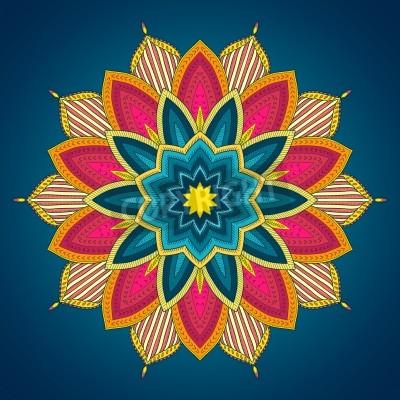 Poster Mandala. Rendas étnico rodada padrão ornamental. Mão bonita flor tirada. Pode ser usado para design de tecido, papel decorativo, web design, bordado, tatuagem, etc.