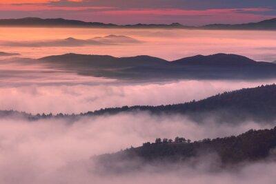 Poster Manhã, paisagem, montanha, enevoado, ambiance