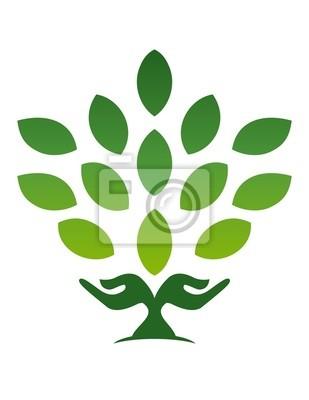 bca914b81b6b7 Poster mão árvore natural logotipo bem-estar ícone yoga símbolo saúde