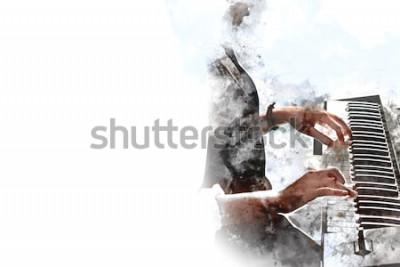 Poster Mão bonita abstrata que joga o teclado do fundo da pintura da aquarela do primeiro plano do piano e da escova da ilustração de Digitas à arte.