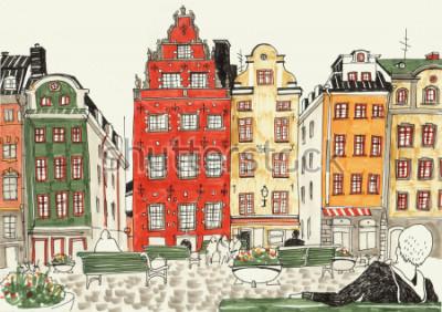 Poster Mão colorida ilustrações desenhadas de casas de Estocolmo, rua esboço da cidade europeia. Tinta e marcadores.