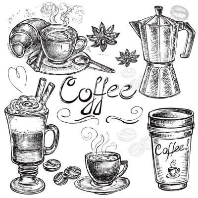 Poster mão conjunto elaborado coleção café