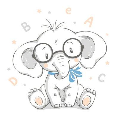 Poster Mão desenhada ilustração vetorial de um elefante bebê fofo em copos grandes.