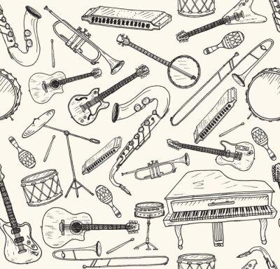 Poster Mão desenhada instrumentos musicais.