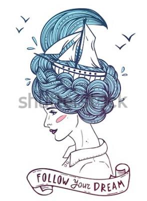 Poster Mão desenhada retrato a cores de uma bela jovem sonhadora com navio em ondas de cabelo encaracolado, como o mar. Tatuagem, zentangle, moda, marinho, cartão postal, fita vintage com o texto