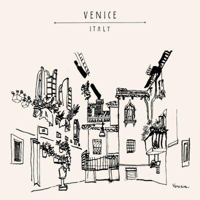 Poster Mão do vintage de Veneza Italia Europa tirada Cartoes Postais