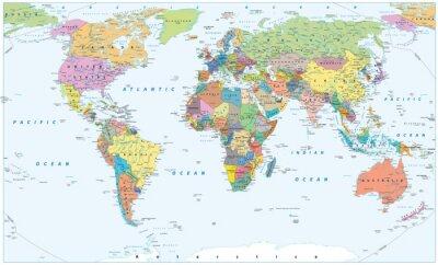 Poster Mapa político do mundo - fronteiras, países e cidades