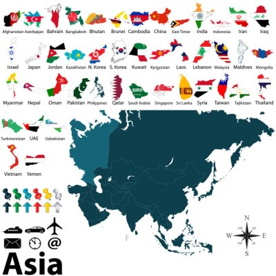 Poster Mapas Políticos da Ásia