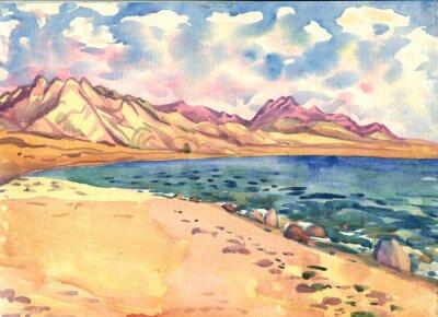 Poster Mar e montanhas. Paisagem. Pintura da aguarela