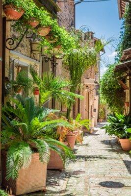 Poster Maravilhosa rua decorada em pequena cidade na Itália, Umbria