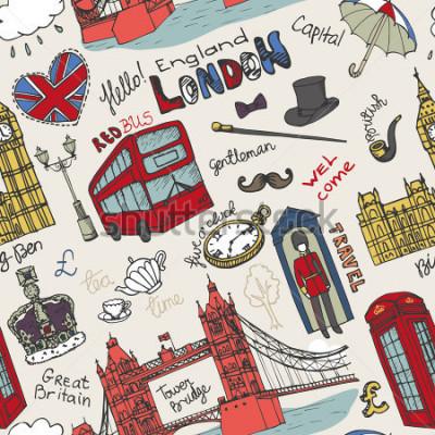 Poster Marco de Londres vetor, lettering em standard sem emenda. Doodle mão sold esboçado. Famosos monumentos arquitetônicos, sinal, símbolos. Ícones vintage de Inglaterra, fundo, pano de fundo, papel de