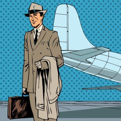 Poster Masculino viajante aéreo de passageiros viagem de negócios homem de negócios de pop art re