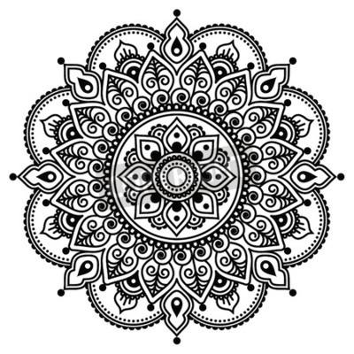 Poster Mehndi, tatuagem de henna indiana padrão ou fundo