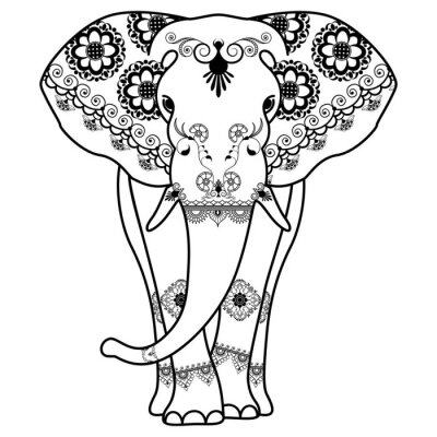 Poster Mehndi tatuagem Elefante decorado em estilo indiano