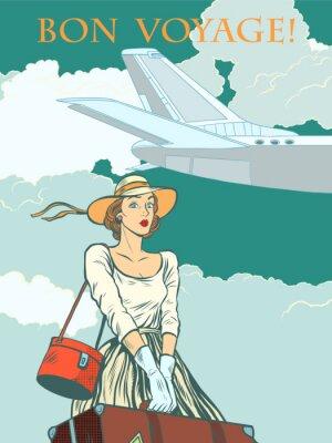 Poster Menina avião de passageiros Bon voyage