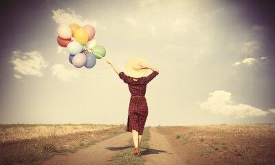 Poster Menina com balões coloridos e saco