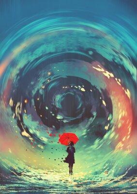 Poster menina com guarda-chuva vermelho faz uma roda de água no céu, estilo de arte digital, pintura de ilustração