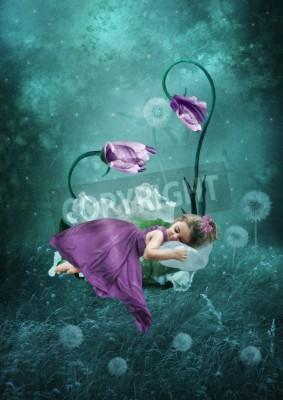 Poster Menina de sono na floresta mágica