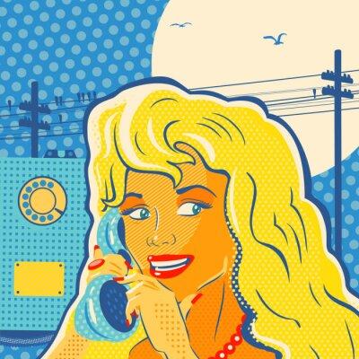 Poster Menina do estilo do pop art com telefone