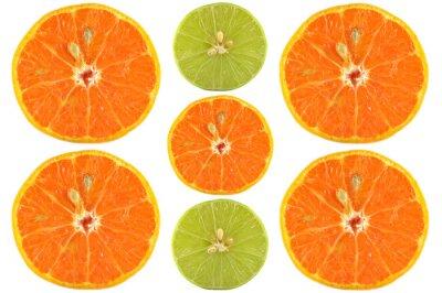 Poster Metades, laranja, lima, branca, fundo