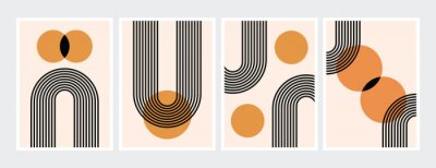 Poster Mid century abstract contemporary aesthetic design  set with geometric balance shapes, modern minimalist artprint.