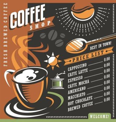 Poster Modelo criativo do menu do café
