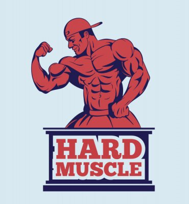 Poster Modelo da aptidão do bodybuilder que levanta o logotipo. Emblema do homem do músculo