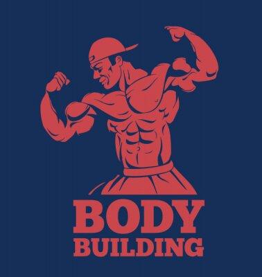 Poster Modelo do fitness do homem do músculo do bodybuilder que levanta o logotipo. Bodybuilder, mostrando, músculos, bodybuilding, emblema