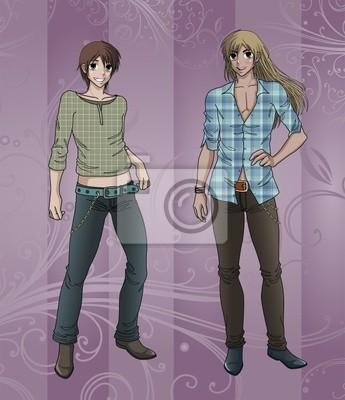 Modelos Masculinos Estilo Anime Posando Para Revista Cartazes Para A