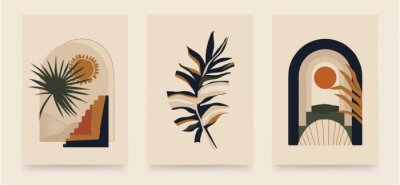 Poster Modern minimalist abstract aesthetic illustrations. Bohemian style wall decor. Collection of contemporary artistic posters.