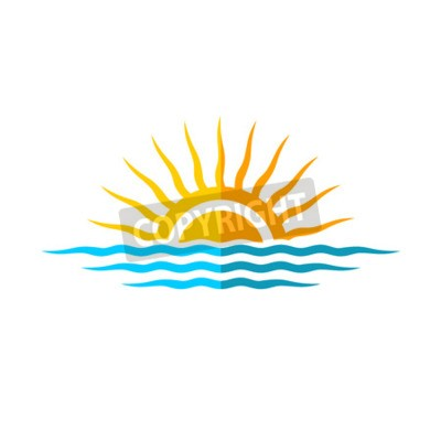 Poster Molde do logotipo do curso. Sol com ondas do mar.